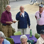 Bill Brockman, Davis Matthews plus people at porch blessing dedication