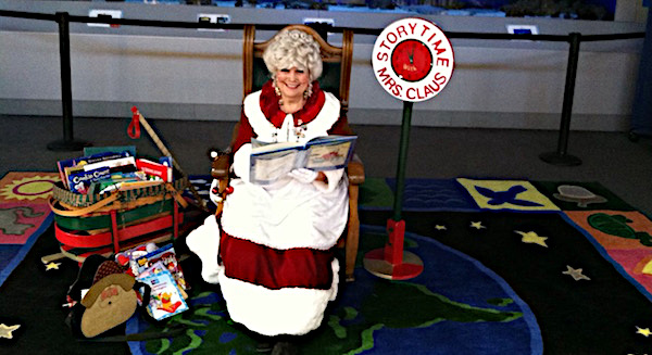Mrs. Claus reading book during storytime